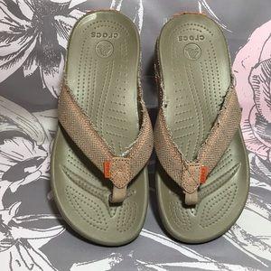 Crocs Beige Sandals Flip Flops Canvas Straps Sz 7